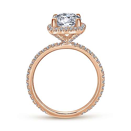 June 18k Rose Gold Round Halo Engagement Ring angle 2