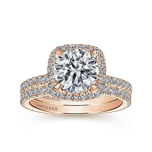 June 18k Rose Gold Round Halo Engagement Ring angle 4