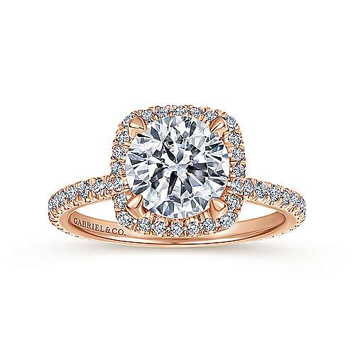 June 18k Rose Gold Round Halo Engagement Ring angle 5