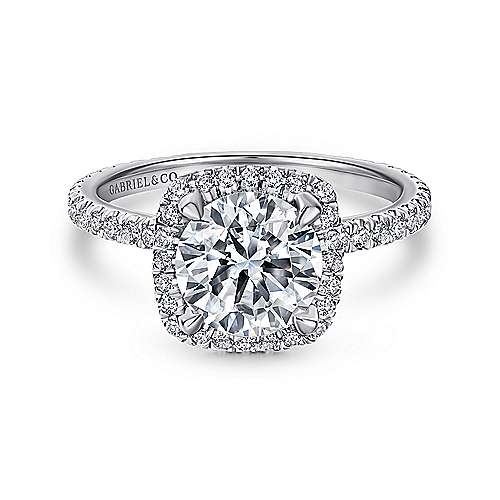 Gabriel - June 18k White Gold Round Halo Engagement Ring
