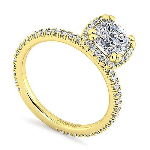 June 18k Yellow Gold Cushion Cut Halo Engagement Ring angle 3