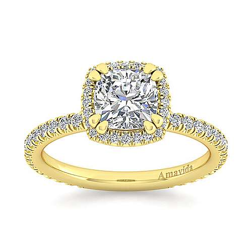 June 18k Yellow Gold Cushion Cut Halo Engagement Ring angle 5