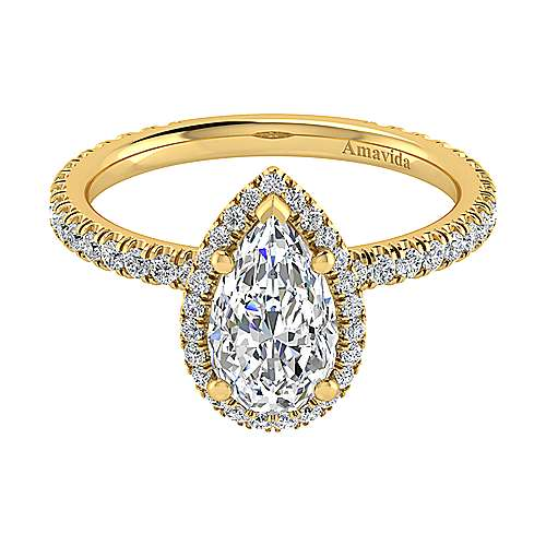 18k Yellow Gold Pear Shape Halo