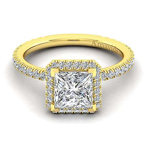 18k Yellow Gold Princess Cut Halo