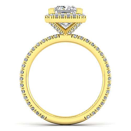 June 18k Yellow Gold Princess Cut Halo Engagement Ring angle 2