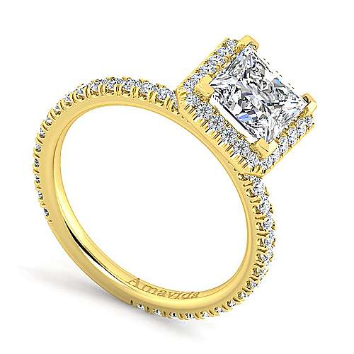 June 18k Yellow Gold Princess Cut Halo Engagement Ring angle 3