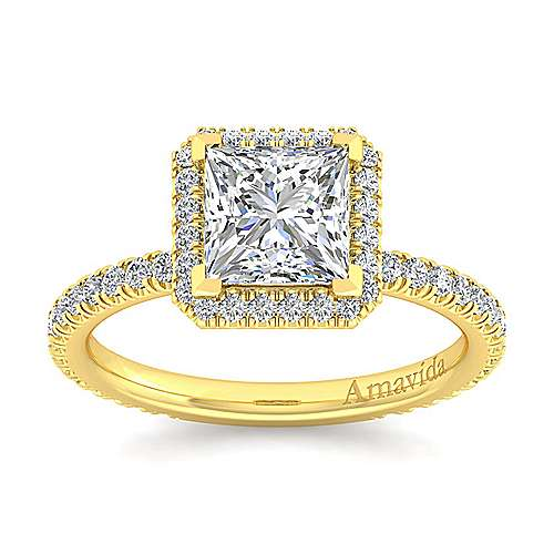 June 18k Yellow Gold Princess Cut Halo Engagement Ring angle 5