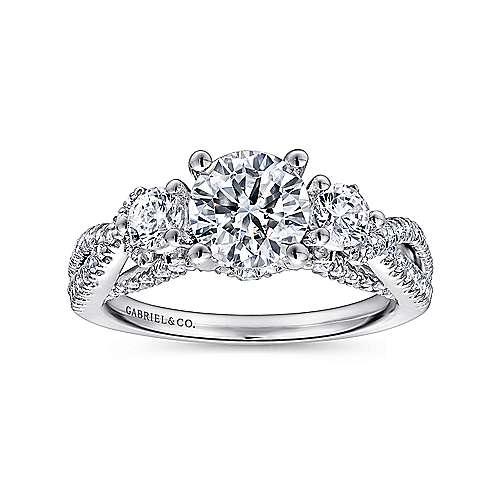 Juniper 14k White Gold Round 3 Stones Engagement Ring