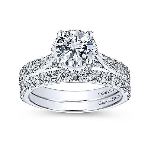 Juno 14k White Gold Round Straight Engagement Ring angle 4