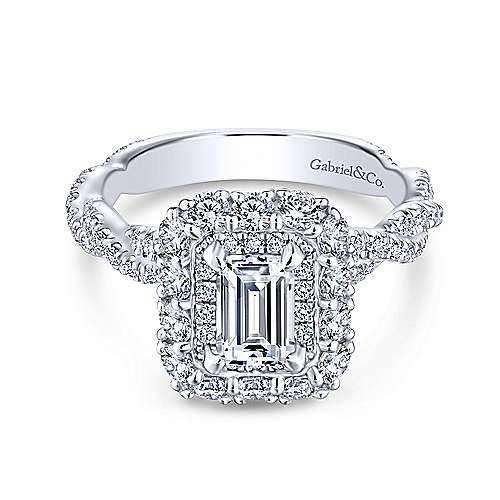 Gabriel - Kaia 14k White Gold Emerald Cut Double Halo Engagement Ring