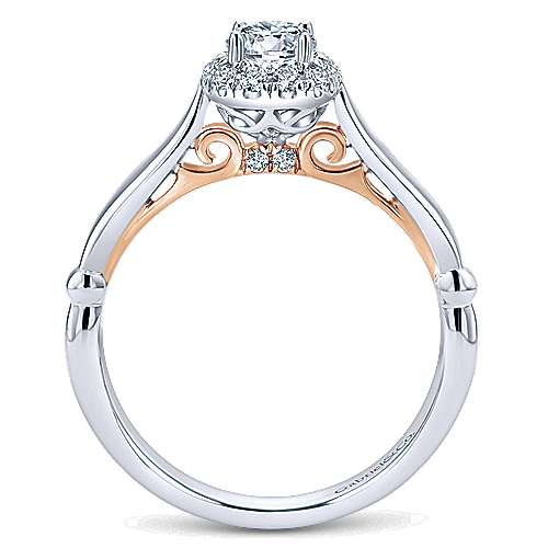 Kailani 14k White And Rose Gold Round Halo Engagement Ring angle 2