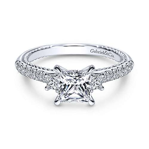 Gabriel - Kaiya 14k White Gold Princess Cut 3 Stones Engagement Ring