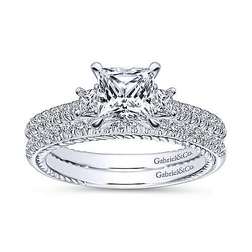 Kaiya 14k White Gold Princess Cut 3 Stones Engagement Ring angle 4