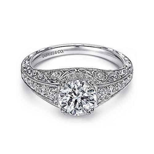 Gabriel - Kali Platinum Round Straight Engagement Ring