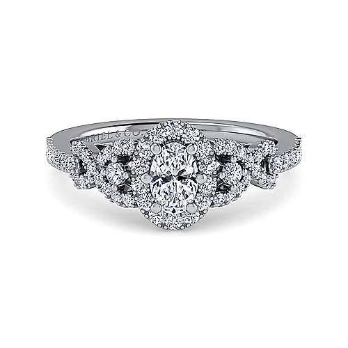 Gabriel - Kalinda 14k White Gold Oval Halo Engagement Ring