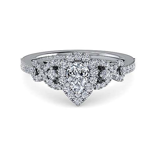Gabriel - Kalinda 14k White Gold Pear Shape Halo Engagement Ring