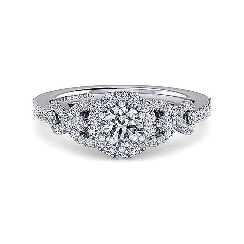 Gabriel - Kalinda 14k White Gold Princess Cut Halo Engagement Ring