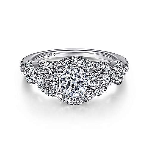 Kalinda 14k White Gold Round Halo Engagement Ring angle 1