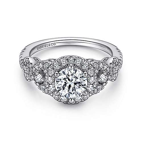 Gabriel - Kalinda 14k White Gold Round Halo Engagement Ring
