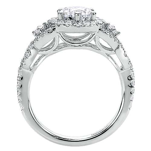 Kalinda 14k White Gold Round Halo Engagement Ring angle 2