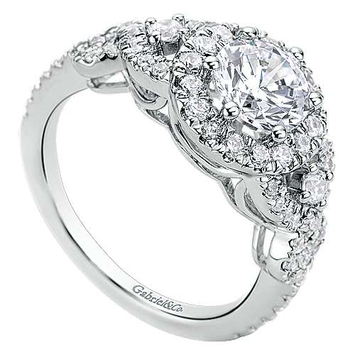 Kalinda 14k White Gold Round Halo Engagement Ring angle 3