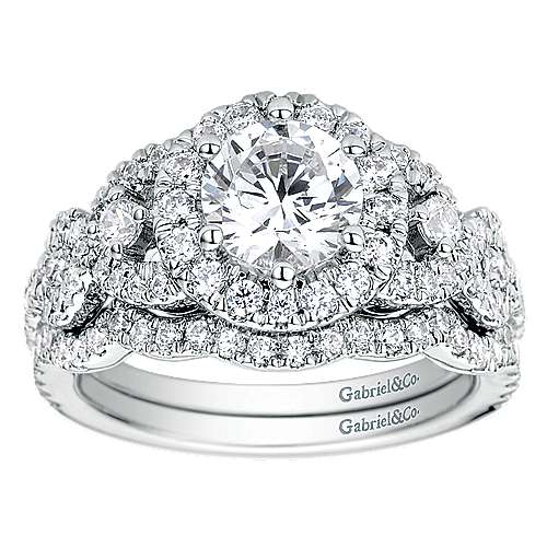 Kalinda 14k White Gold Round Halo Engagement Ring angle 4