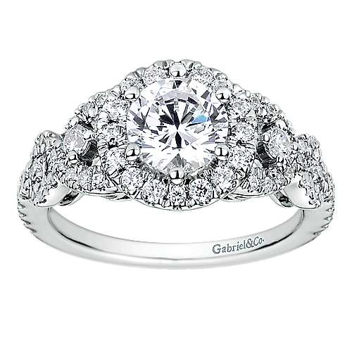 Kalinda 14k White Gold Round Halo Engagement Ring angle 5