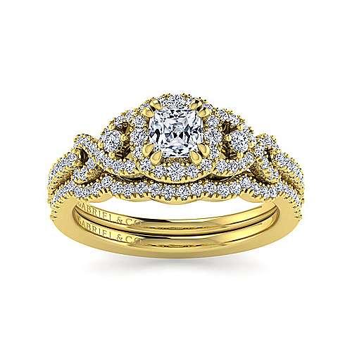 Kalinda 14k Yellow Gold Cushion Cut Halo Engagement Ring angle 4