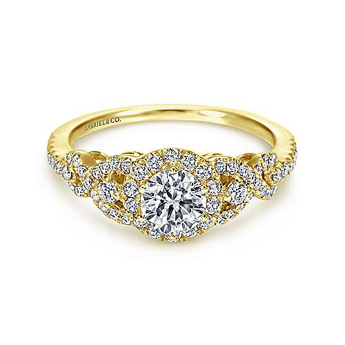Gabriel - Kalinda 14k Yellow Gold Round Halo Engagement Ring