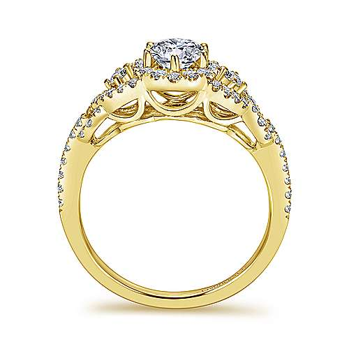 Kalinda 14k Yellow Gold Round Halo Engagement Ring angle 2