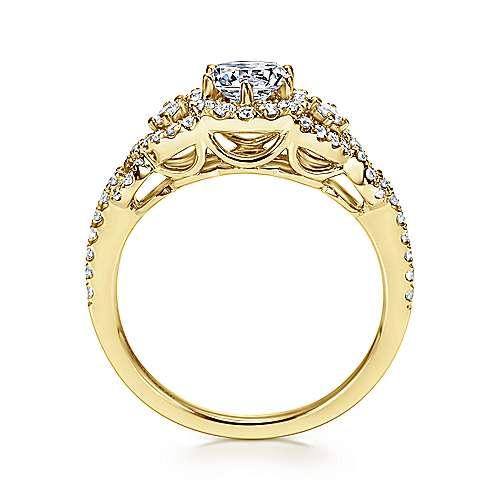 Kalinda 14k Yellow Gold Round Halo Engagement Ring