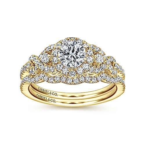 Kalinda 14k Yellow Gold Round Halo Engagement Ring angle 4
