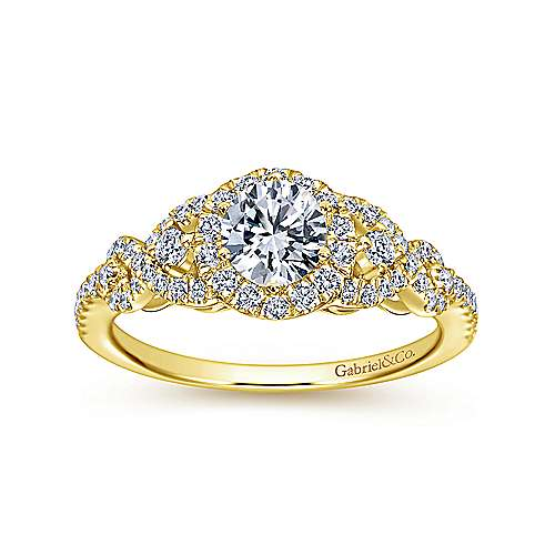 Kalinda 14k Yellow Gold Round Halo Engagement Ring angle 5