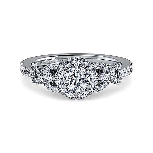 Gabriel - Kalinda 18k White Gold Round Halo Engagement Ring