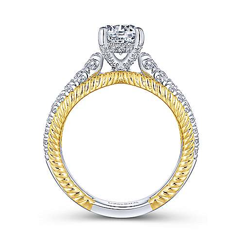 Kara 14k Yellow And White Gold Round Split Shank Engagement Ring angle 2