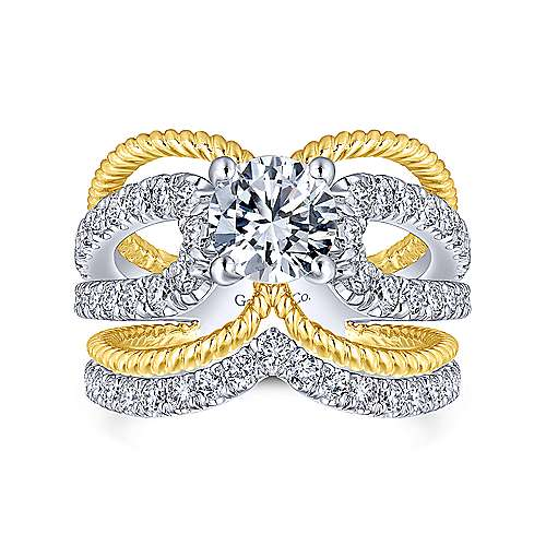 Kara 14k Yellow And White Gold Round Split Shank Engagement Ring angle 4