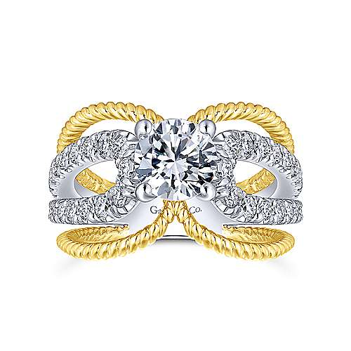 Kara 14k Yellow And White Gold Round Split Shank Engagement Ring angle 5