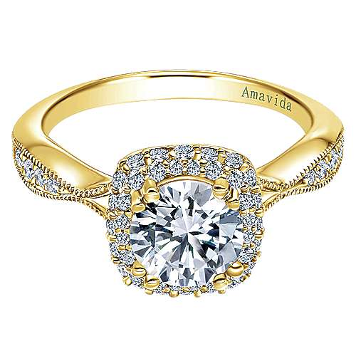Gabriel - Karla 18k Yellow Gold Round Halo Engagement Ring