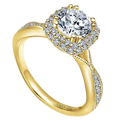 Karla 18k Yellow Gold Round Halo Engagement Ring angle 3