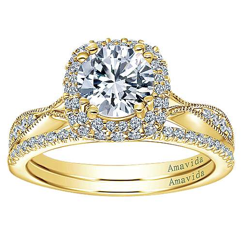 Karla 18k Yellow Gold Round Halo Engagement Ring angle 4