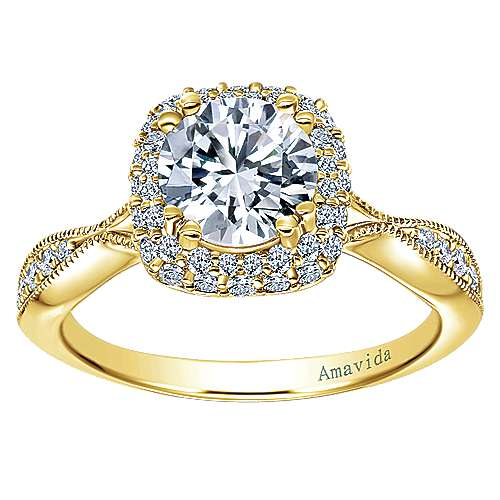 Karla 18k Yellow Gold Round Halo Engagement Ring angle 5