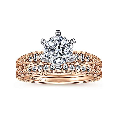 Kate 14k White And Rose Gold Round Straight Engagement Ring