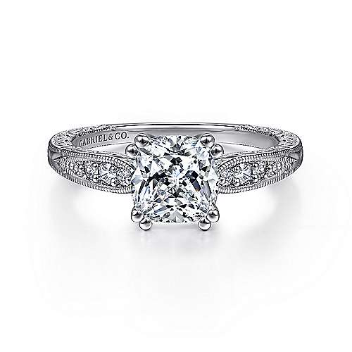 Gabriel - Kate 14k White Gold Cushion Cut Straight Engagement Ring