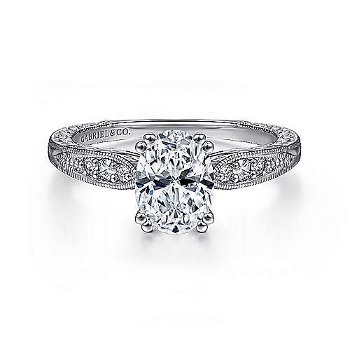 Gabriel - Kate 14k White Gold Oval Straight Engagement Ring