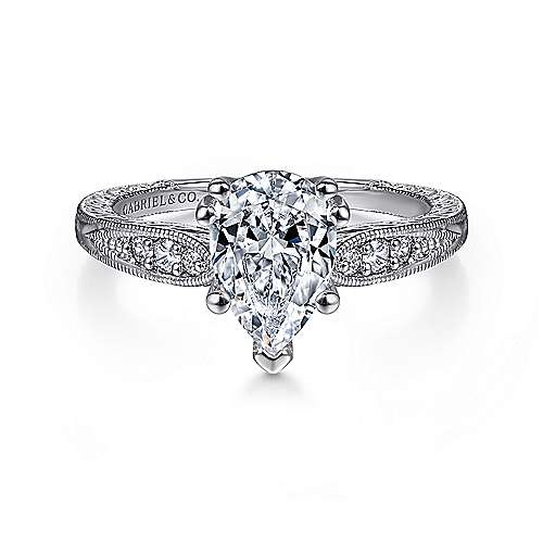 Gabriel - Kate 14k White Gold Pear Shape Straight Engagement Ring