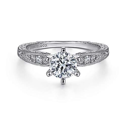 Gabriel - Kate 14k White Gold Round Straight Engagement Ring