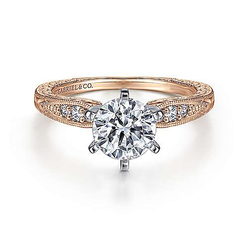 Gabriel - Kate 14k White/pink Gold Round Straight Engagement Ring