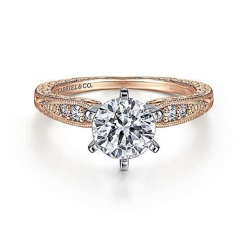 Gabriel - Kate 14k White/rose Gold Round Straight Engagement Ring