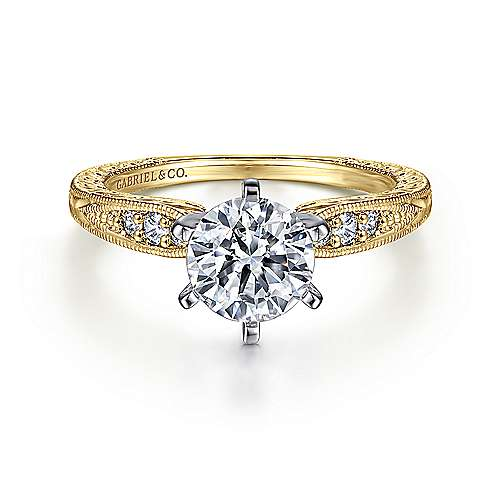 Gabriel - Kate 14k Yellow And White Gold Round Straight Engagement Ring