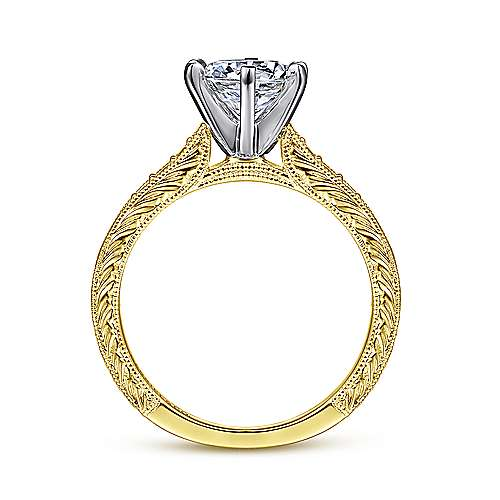 Kate 14k Yellow And White Gold Round Straight Engagement Ring angle 2